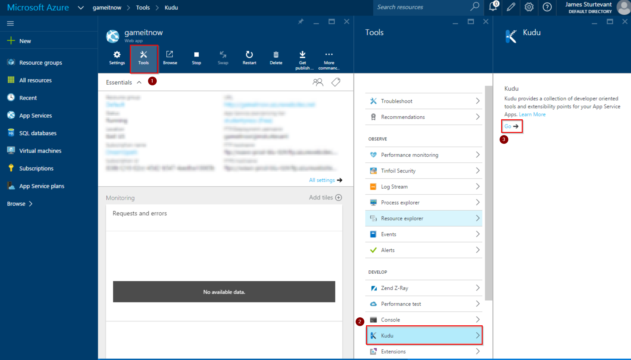 launch Kudu from azure portal