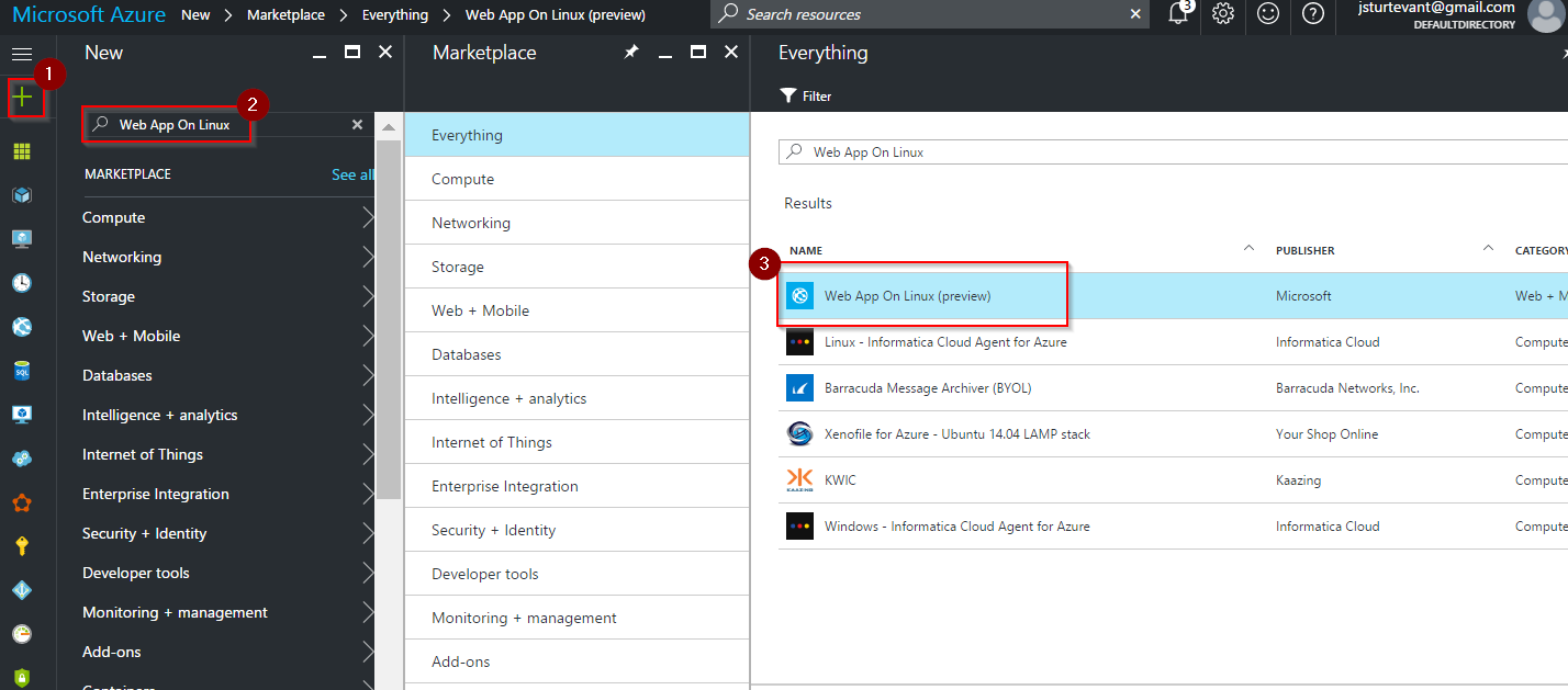 new azure web app for linux