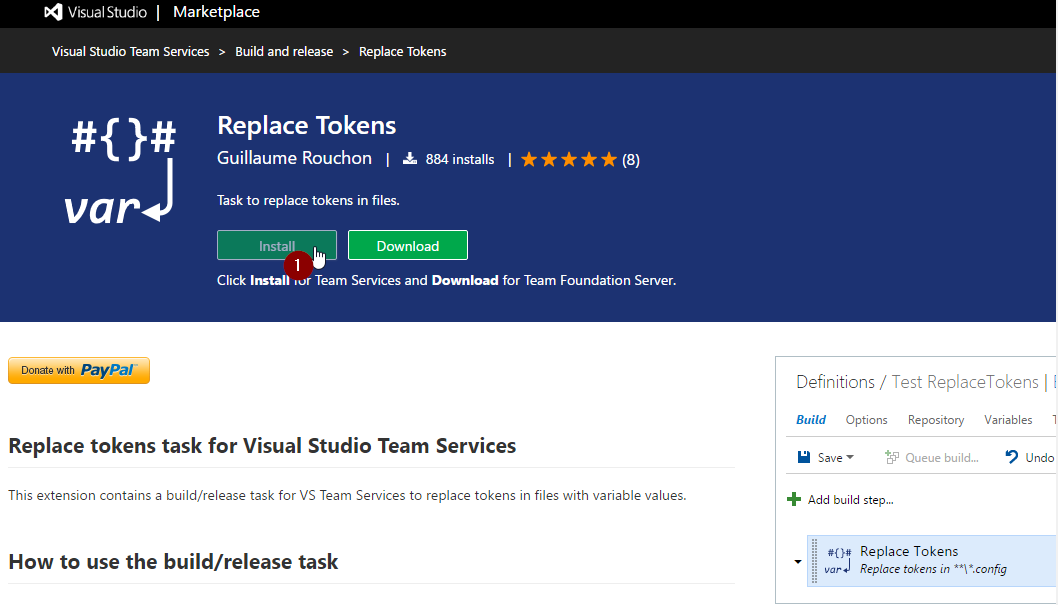 click install to VSTS