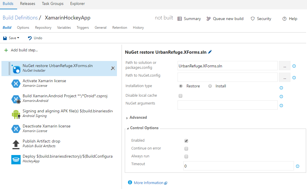 image of steps already configured for VSTS